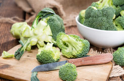 Fresh Broccoli. Fresh raw Broccoli as detailed close-up shot on wooden background Royalty Free Stock Images
