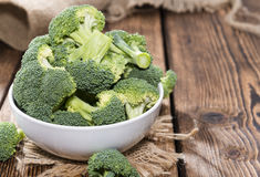 Fresh Broccoli. Fresh raw Broccoli as detailed close-up shot on wooden background Royalty Free Stock Image