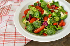 Fresh broccoli salad plate. Closeup shot of fresh raw broccoli pieces on a wooden background Royalty Free Stock Images