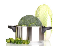 Fresh broccoli in saucepan and cabbages Stock Images