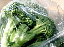 Fresh Broccoli In Sealed Plastic Storage Bag Royalty Free Stock Images