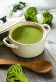 Fresh broccoli soup Stock Photos