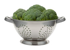 Fresh Broccoli in a Stainless Steel Colander Stock Photography