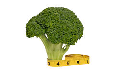 Fresh Broccoli Stalk and Measuring Tape Stock Image