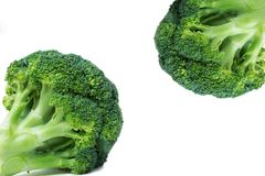 Fresh broccoli in two opposite corners, close-up, white background, stock image