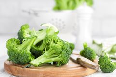 Fresh broccoli on white background. Closeup Stock Images