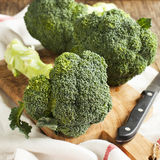 Fresh broccoli on wooden board Royalty Free Stock Photography