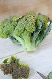 Fresh broccoli on wooden boards Stock Image