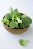 Fresh broccoli in wooden bowl Royalty Free Stock Photography