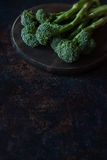 Fresh broccolini on a board. Fresh broccolini on a wooden round board. Space for the text, selective focus Stock Images