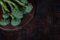 Fresh green broccolini on a board. Fresh broccolini on a wooden round board. Space for the text, selective focus Royalty Free Stock Image