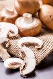 Fresh brown Agaricus mushrooms Stock Photos