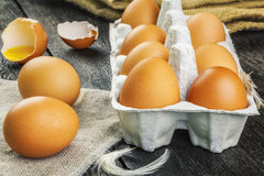 Fresh,brown chicken eggs on table Royalty Free Stock Photo