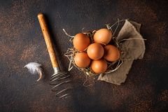 Fresh  brown eggs in bowl and whisk. Top view Royalty Free Stock Image