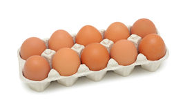 Fresh brown eggs, isolated Stock Photo