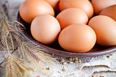 Fresh brown eggs on a plate. Closeup on linen background Stock Photography