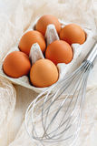 Fresh brown eggs with stainless steel whisk. Stock Image