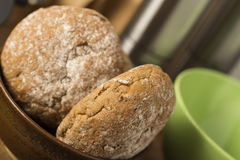 Fresh brown wholewheat rolls in a bowl Stock Photography