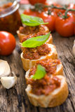 Fresh bruschetta Stock Photos