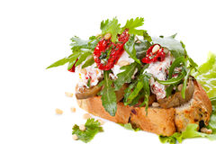 Fresh bruschetta. With cheese and sun-dried tomatoes Stock Photography