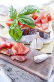 Fresh bruschetta with tomato and basil Stock Images
