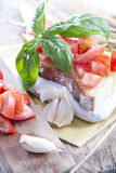 Fresh bruschetta with tomato and basil Royalty Free Stock Images