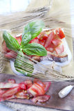 Fresh bruschetta with tomato and basil Royalty Free Stock Image