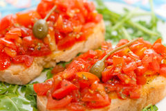 Fresh bruscjhetta with tomato, Royalty Free Stock Photography