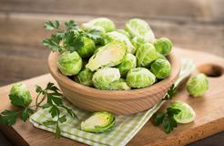 Fresh Brussel sprouts. In the bowl Royalty Free Stock Images