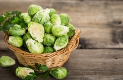 Fresh Brussel sprouts. In the bowl Royalty Free Stock Photos