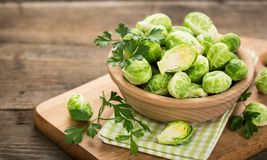 Fresh Brussel sprouts. In the bowl royalty free stock photography
