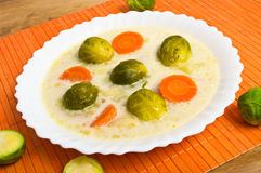 Fresh brussels sprouts. Soup with cream Stock Image