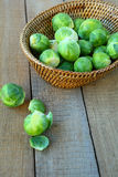 Fresh brussels sprouts in basket Royalty Free Stock Photography