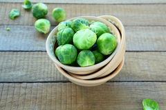 Fresh Brussels sprouts in a bowl. Food Stock Photography
