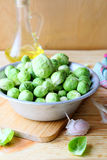Fresh Brussels sprouts in a bowl. Food close up Royalty Free Stock Photos