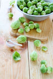 Fresh Brussels sprouts in a bowl. Food close up Royalty Free Stock Photography