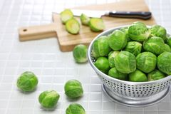 Fresh brussels sprouts. Close up Royalty Free Stock Photos