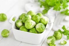 Fresh brussels sprouts. On white background Royalty Free Stock Photos