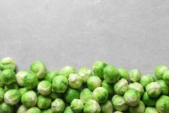 Fresh Brussels sprouts on grey background, top view. With space for text stock photography