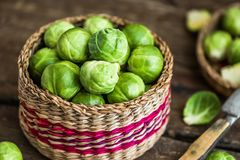 Fresh Brussels Sprouts. Many Fresh Green Brussels Sprouts in a Basket Stock Photos
