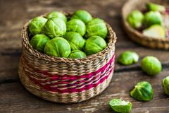 Fresh Brussels Sprouts. Many Fresh Green Brussels Sprouts in a Basket Royalty Free Stock Photo
