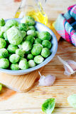 Fresh brussels sprouts on a plate Stock Photo