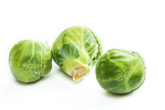 Fresh brussels sprouts  on white background. Royalty Free Stock Images