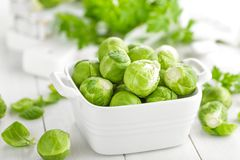 Fresh brussels sprouts. On white background Stock Photos