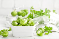 Fresh brussels sprouts. On white background Royalty Free Stock Images