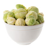 Fresh brussels sprouts. On white ceramic bowl isolated on white background Royalty Free Stock Image