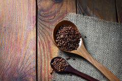 Fresh buckwheat  on wooden background Stock Photo