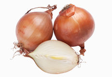 Fresh bulbs of onion. On white isolated Royalty Free Stock Photography