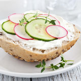 Fresh bun. With cucumber and radish Royalty Free Stock Photo