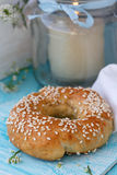 Fresh bun with sesame seeds Stock Photos